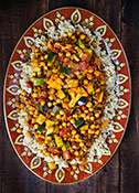 Cumin-Infused Vegetables and Chickpeas over Quinoa; Recipe and Photo by Susan Voisin