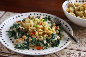 Cosmic Cashew Kale and Chickpeas with Confetti Quinoa; Recipe and Photo by Susan Voisin