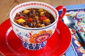Black Bean-Pineapple Soup Stew Chili; Recipe and Photo by Susan Voisin