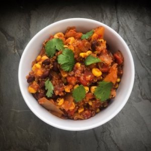 Butternut Squash and Quinoa Chili; Recipe and Photo by Wendy Solganik