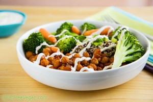 Chickpea and Broccoli Bowl with Tahini Sauce; Recipe and Photo by Susan Voisin