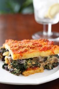 Polenta Lasagna with Portabellas and Kale; Recipe and Photo by Susan Voisin
