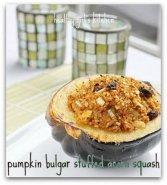 pumpkin bulgur stuffed acorn squash