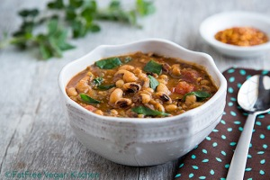 Spicy Collards and Black-eyed Pea Soup; Recipe and Photo by Susan Voisin