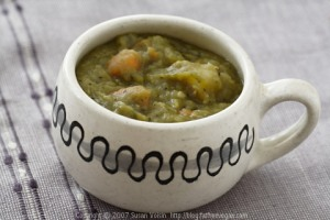 Thick and Hearty Split Pea Soup; Recipe and photo by Susan Voisin