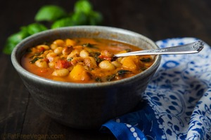 White Bean Stew with Winter Squash and Kale; Recipe and photo by Susan Voisin.