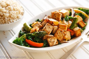 Thai Black Pepper and Garlic Tofu; Recipe and Photo by Susan Voisin