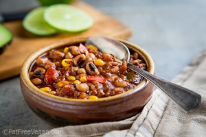 Black-eyed Pea Chili with Quinoa and Corn; Recipe and Photo by Susan Voisin