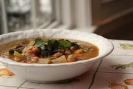 Coconut Curry Kale, Chick Pea and Sweet Potato Soup