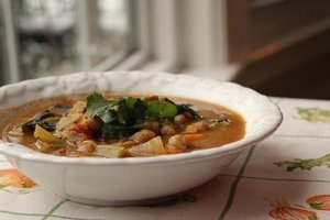 Coconut Curry Kale, Chick Pea and Sweet Potato Soup; Recipe and Photo by Wendy Solganik