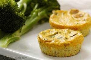 Mini Crustless Tofu Quiches; Recipe and Photo by Susan Voisin