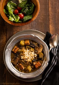 Mushroom and Tempeh Gumbo; Recipe and Photo by Susan Voisin