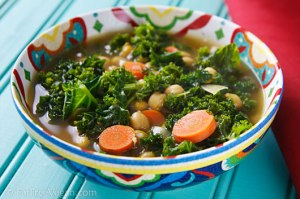 North African Chickpea and Kale Soup; Recipe and Photo by Susan Voisin