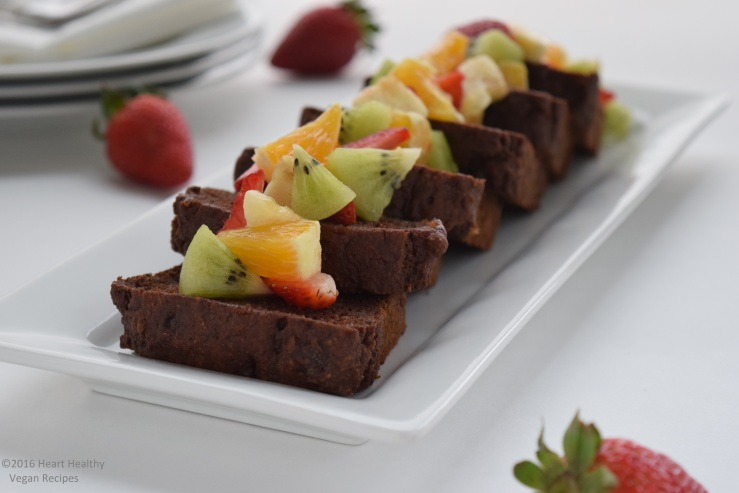 Banana bread with fruit salad