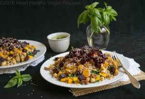 Beet and Barley Salad with Creamy Basil Salad Dressing