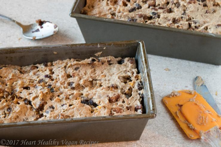 fruitcake batter in pan